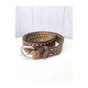 Vintage Threaded Acorn Leather belt